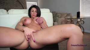 Pussy sex in company with big boobs brunette