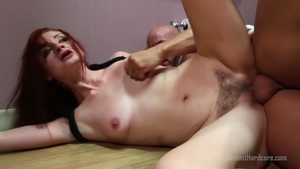 Hairy Violet Monroe bends over XXX