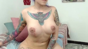 Solo big boobs & tattooed female butt pounded