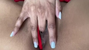 Fingering together with shaved ebony couple