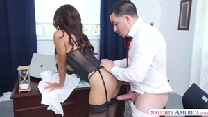 Interracial sex in office