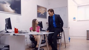 Large tits brunette nailed in office