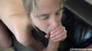 Czech blonde hair helps with group sex HD