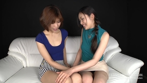Asian lesbo pussy rubbing