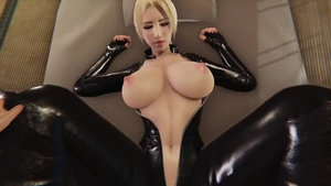 Huge boobs wearing latex pussy fuck 3d