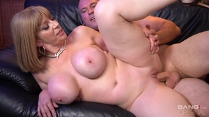 Huge boobs Sara Jay rough pussy eating during interview