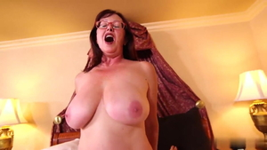 Getting a facial saggy tits granny in glasses