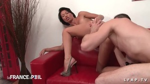 Ass fucking between sexy french stepmom