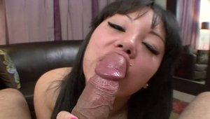 Asian sucking big dick and got her pussy pounded