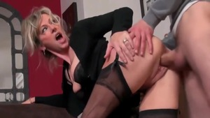 Doggy fucks along with super hot stepmom