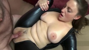Black Cat in catsuit cosplay blowjob