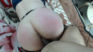 Big ass russian student doggy fucks in office